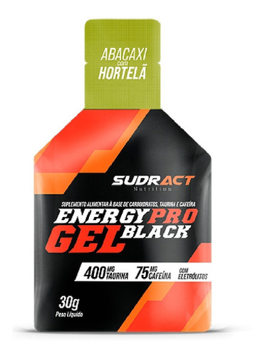 Imagem 1 de 1 de Caixa Energy Pro Gel Black 15 Sachê De 30g Abacaxi Sudract