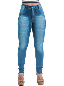 c76f5da4a Kit 5 Calça Jeans Feminina Cós Alto Levanta Bumbum Atacado