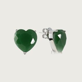 Brinco Coração De Prata Com Pedra De Zircônia Verde