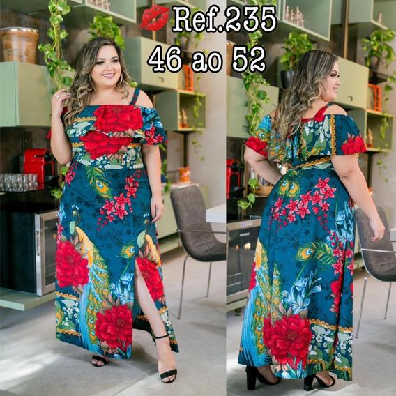 Vestido Longo Plus Size Tecido De Otim Qualidade Do 44 Ao 54