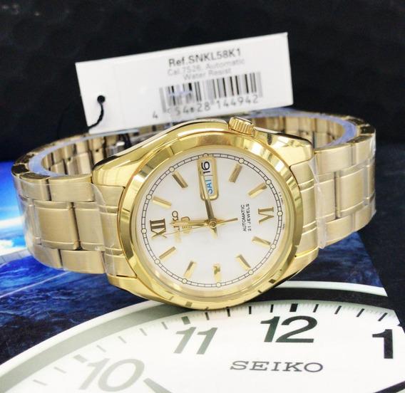 Relógio Seiko Automático Clássico Snkl58k1 Plaque Ouro