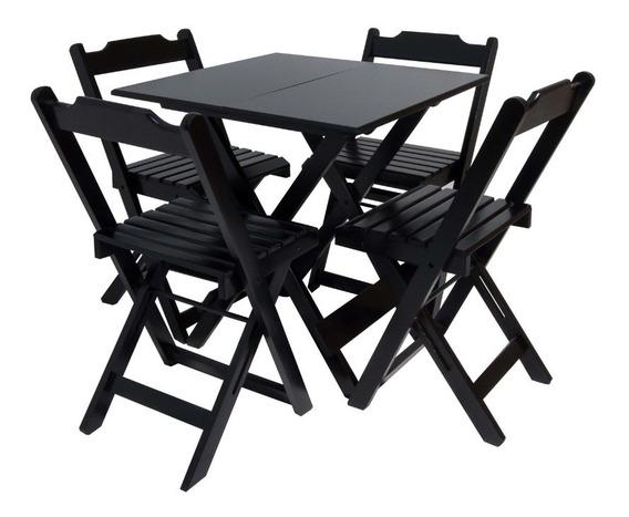 Mesa Bar Com 4 Cadeiras Cor Preta
