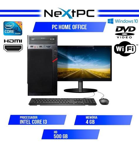 Imagem 1 de 6 de Computador Completo I3 4gb Hd 500gb Monitor 19.5 Wifi Win10