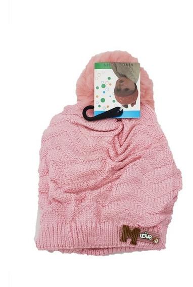 Touca De Lã Infantil Crianças Inverno Forrado Pompom -mlove