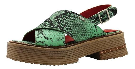 Zapatos Sandalias Cuero Mujer Verde Bajas Urbanas Leblu 866