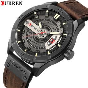 Relógio Curren 8301 Original De Luxo Calendário Couro Novo