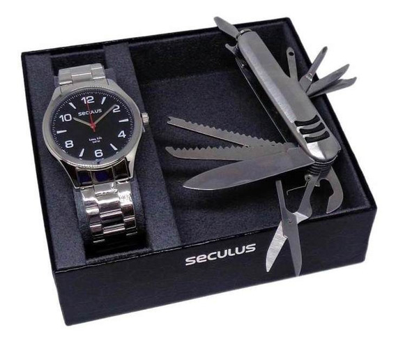Kit Relógio Seculus Masculino Analógico Com Canivete 28974g0svna1kz