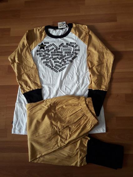 Pijama Dormir Invierno Camiseta Manga Larga Babucha Algodon