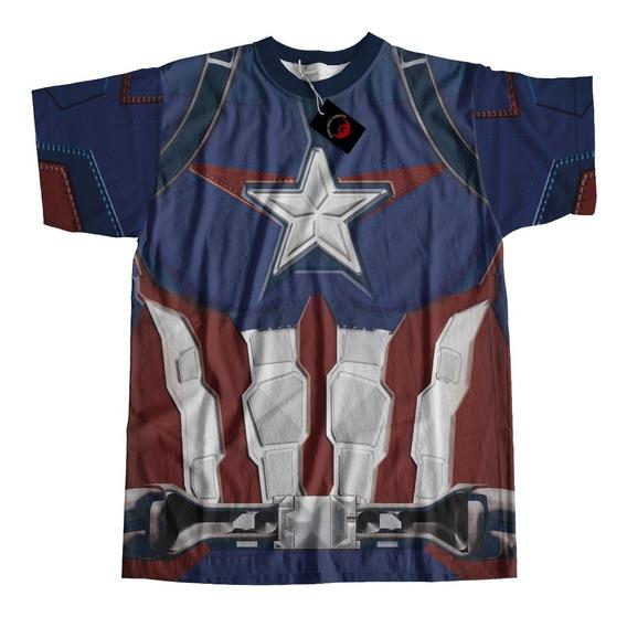Camiseta Em Dryfit Full Print Capitao America Traje