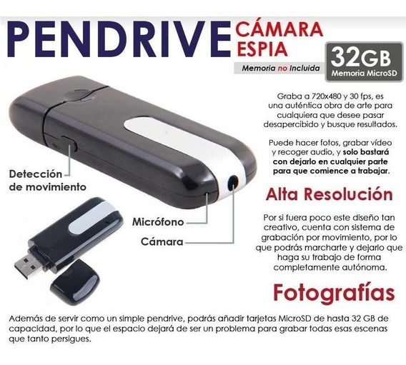 Pendrive Con Camara Espia Video Foto Sonido Sensor Movimient