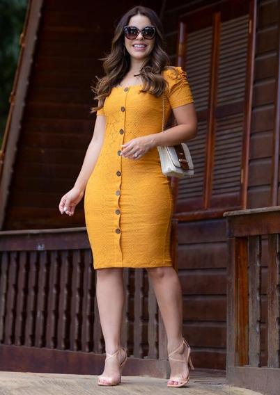 Vestido Tubinho Roupas Femininas Social C/ Botões Blogueira