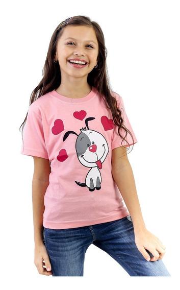 Kit 06 Camisetas Infantil Menina Curta 100% Algodão