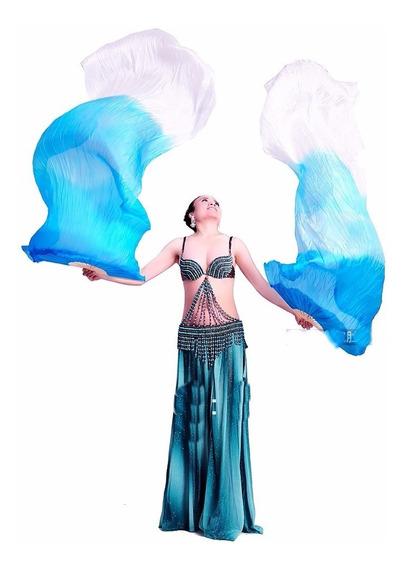 Abanicos /danza Arabe De Seda Importados De 165 /180 Aprx