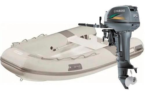 Imagem 1 de 6 de Bote Inflável Zefir Wind F300 + Motor Yamaha 15hp 2t