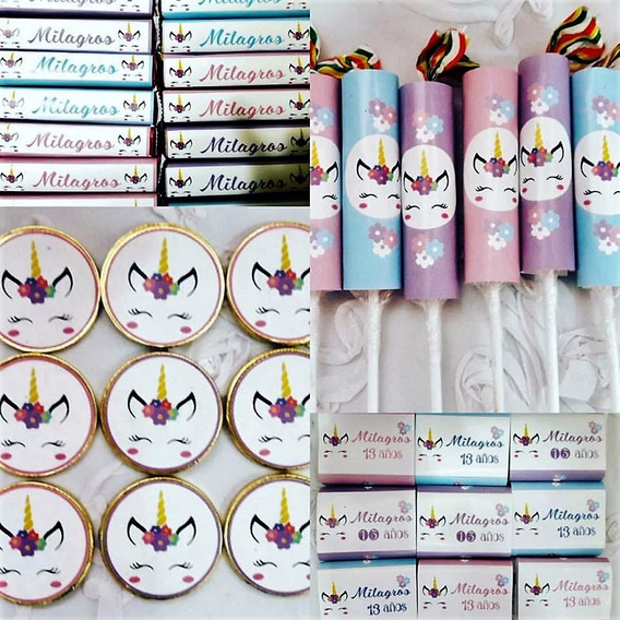 Candy Bar Unicornio Personalizado Para 20 Niños