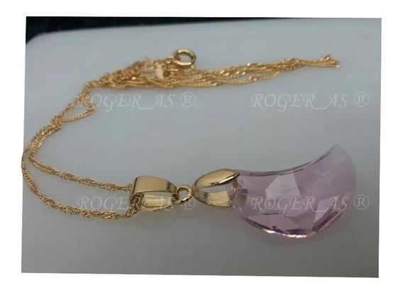 Colar Lua Rosa Cristal Swarovski 2,0 Cm Folheado A Ouro 18k