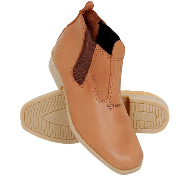 Botina De Couro Confortável De Cowboy Solado Pvc Whisky Saad