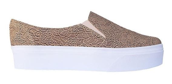 Zapato Plataforma Slip-on Korvas Toast Café Mujer Dama