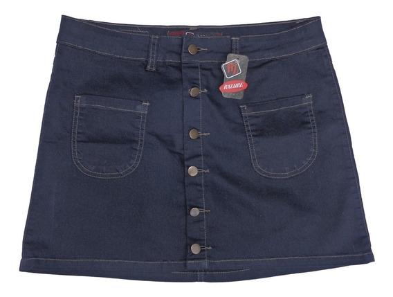 Saia Jeans Color Com Botão Frontal Plus Size