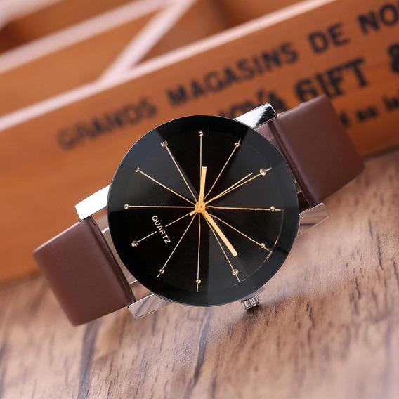 Relógio Quartz Pulseira Marrom Couro Luxo