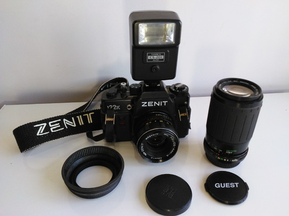 Câmera Zenit 122k + 2 Lentes + Flash - Necessita Revisão