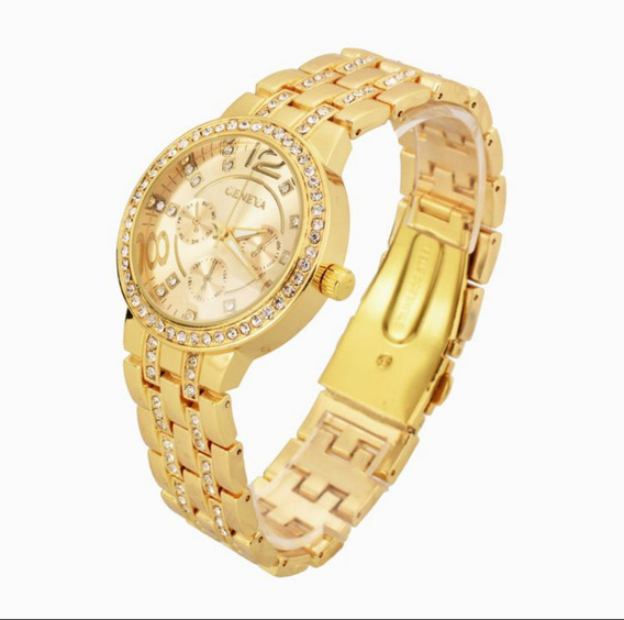 Relógio Geneva Feminino Dourado Model G63 Com Caixa Luxo