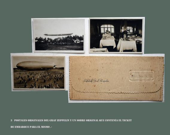 3 Postales Originales Del Graf Zeppelin Y Un Sobre Original
