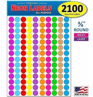Paquete De 2100 3/4 Etiquetas Redondas De Puntos Circulares