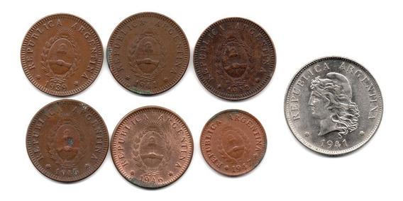 Excelente Lote De 7 Monedas Argentina 1 Y 2 Centavos Cobre