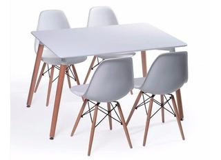 Juego De Comedor Mesa Eames 120x80 + 4 Sillas Eames Blancas