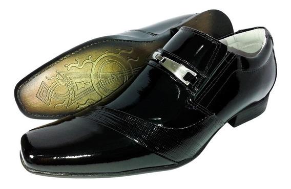 Sapato Social Masc Couro Verniz Luxo Sofisticação Franca Sp
