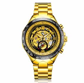 Relógio Automático Masculino Mecanico Esqueleto Dourado Ouro