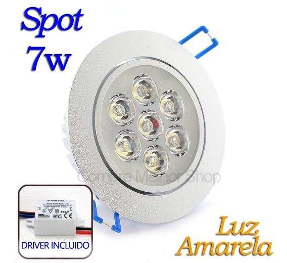Spot Led 7w Embutir Redondo Lampada Luz Amarela Gesso Pvc