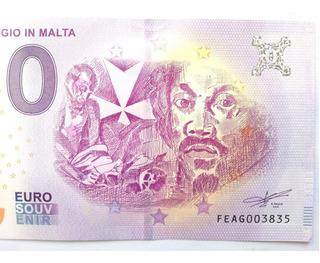 Billete Cero 0 Euro Papel Carvaggio En Malta 2019