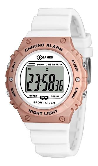 Relógio X-games Feminino Digital Xfppd057 Branco Rose