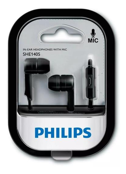 Fone De Ouvido She1405bk Preto Com Microfone Philips