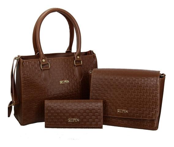 Bolsa Feminina Kit Com 3 Bolsas Grande Pequena Carteira Brt