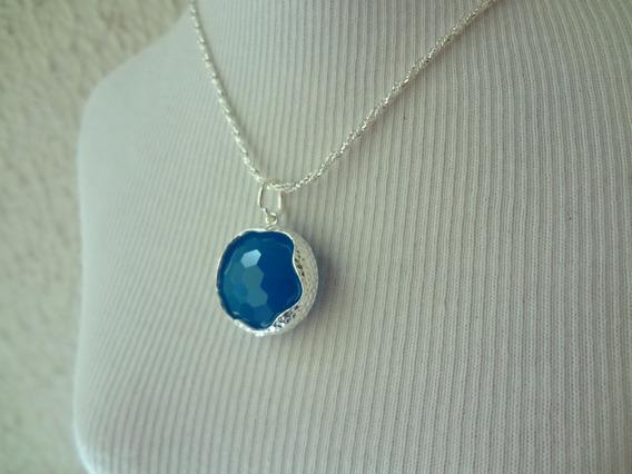 Colar Gargantilha Folheado A Prata Com Cristal Azul Cf 44