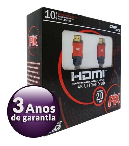 Cabo Hdmi 10 Metros 2.0 4k Ultra Hd 3d 19 Pinos 018-1120
