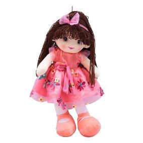 a763db7e8f Boneca Vestido Rosa Cabelo Castanho Escuro Encaracolado 59cm