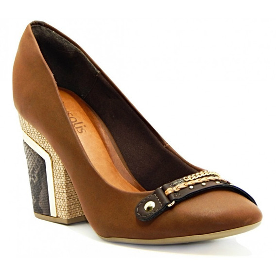 Sapato Scarpin Feminino Salto Alto Crysalis 50974000 - Marro