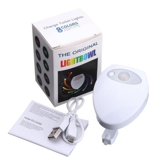 Sensor Luz Led 8 Cores Recarregável Vaso Sanitário Lightbowl