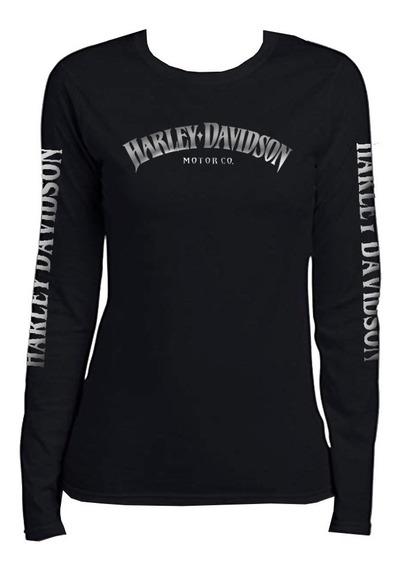 Harley Davidson Playera Manga Larga Para Dama
