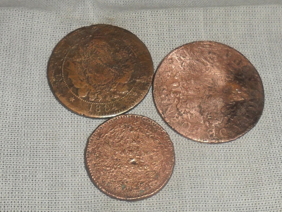 Lote De 3 Monedas Argentinas¡ 1833, 1855, 1884