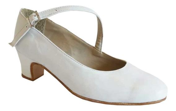 Zapatos Folklore, Español, Danza En Cuero Blanco