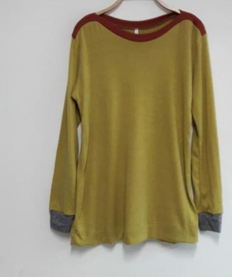 Remera Lanilla Combinacion De Colores. T.u- Blon