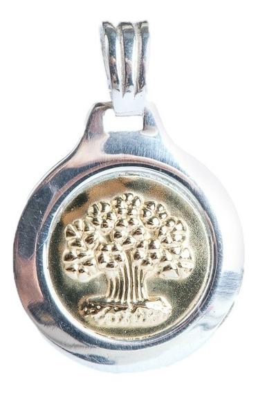 Medalla Del Arbol De La Vida En Plata Y Lamina De Oro