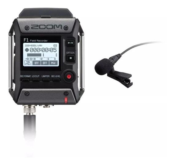 Zoom Gravador Digital F1-lp Com Microfo Lavalier De Lapela