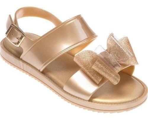 Sandália Infantil Menina Dourada Laço Glitter Pimpolho
