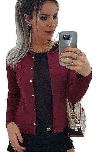 Blusa De Frio Canelada Feminino Cardigan Casaquinho Liso